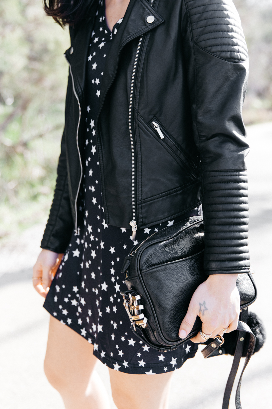 Faux leather biker jacket from Marks & Spencer.
