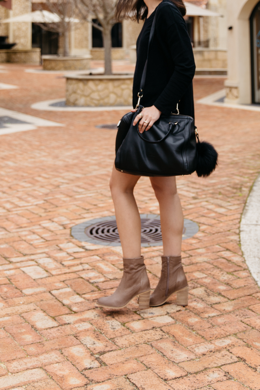 Taupe leather boots outfit idea.