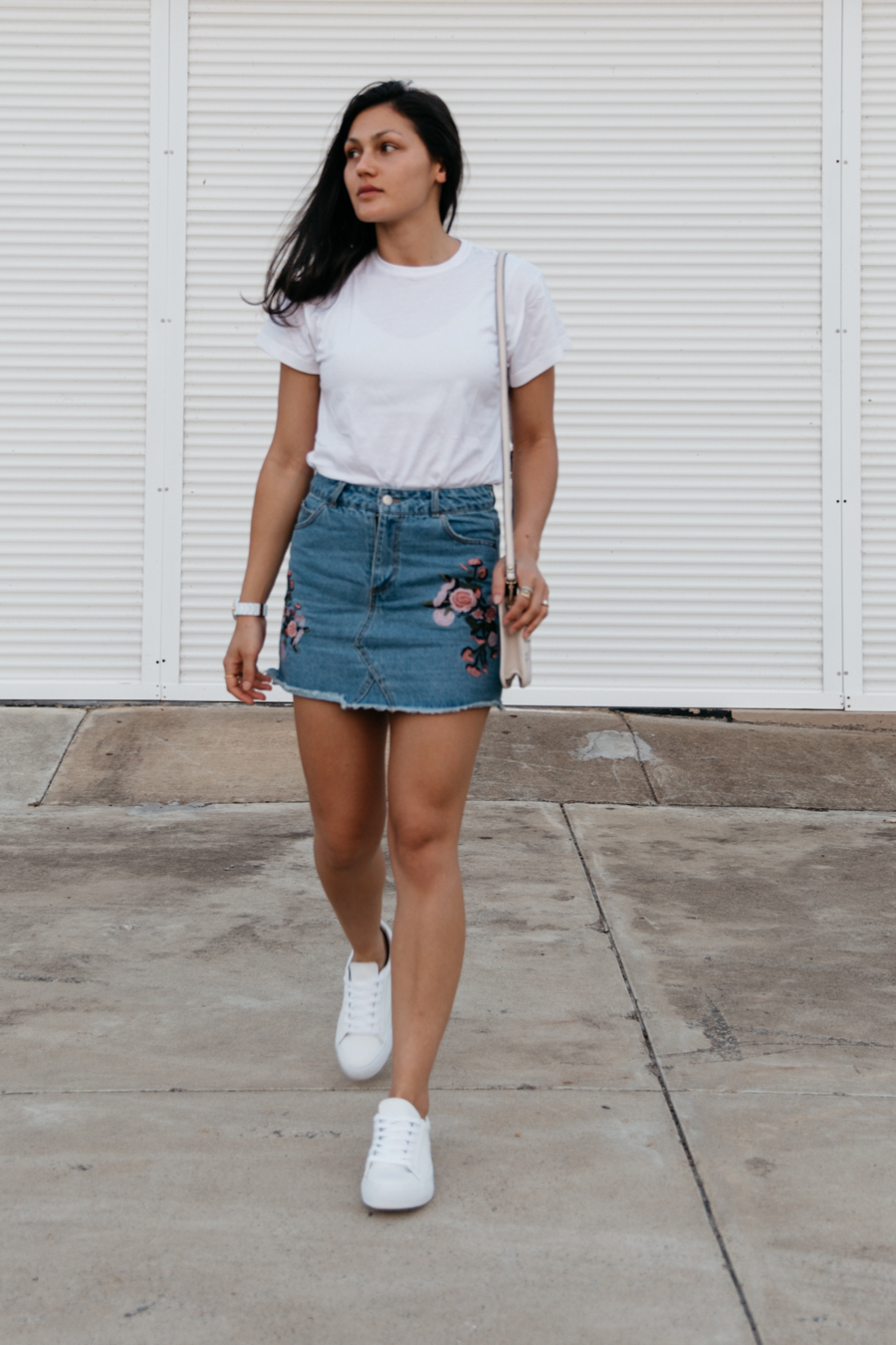 Denim skirt with white tee outfit. Perth blogger.