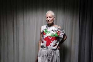 The controversial British designer has launched a political clothing collection designed to be worn by either men or women