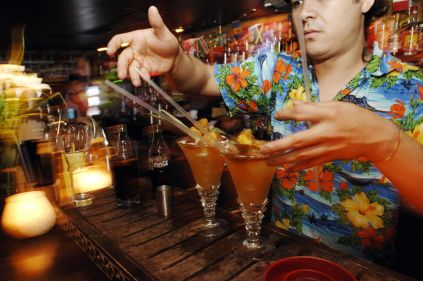 A barman serves drinks at the Mahiki bar in London.