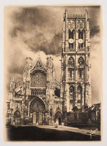 """The Lovers (Eglise Saint-Jacques de Dieppe)/1999 61X46cm, Oil and Pencil on Paper, A work where a church clock in France has been drawn twice to represent Ogawa's """"pefectionized"""" world"""