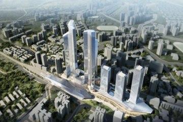 renderings of the sha ping ba railway hub, chongqing, china