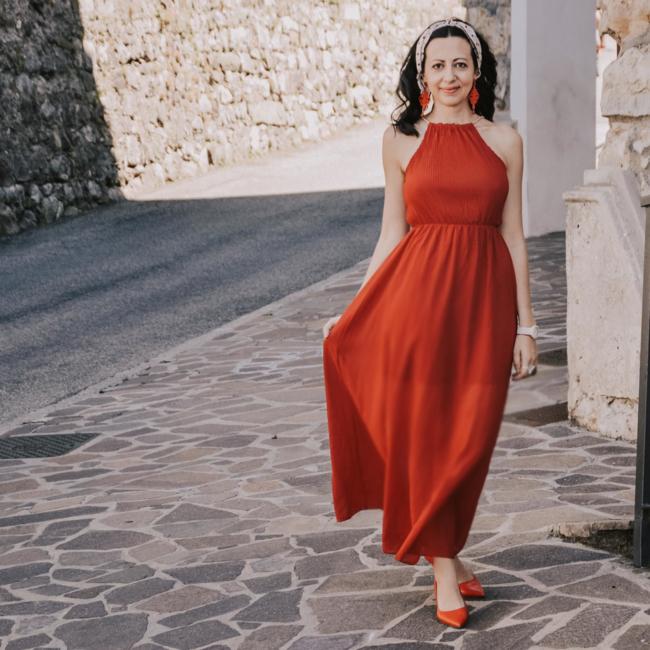 abito rosso groupon