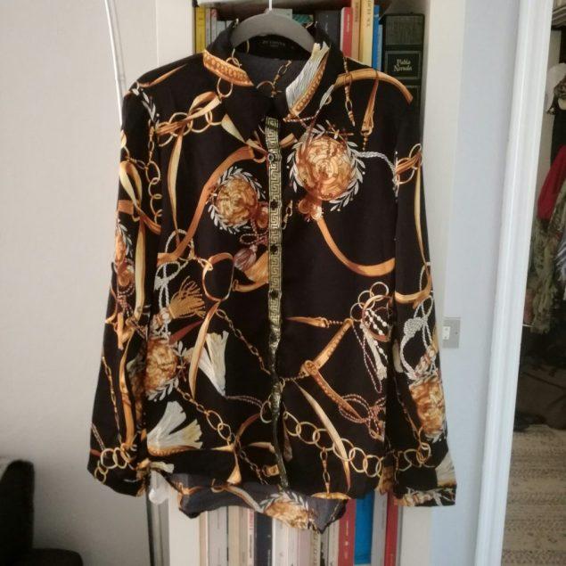 Black Gold Geometric Scarf Print Shirt - Faye