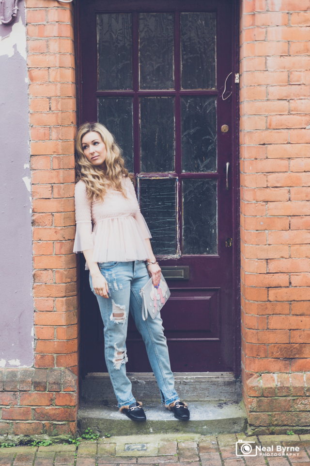 how to style pink tulle and denim