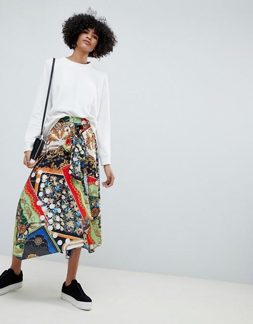 ASOS DESIGN scarf print midi skirt