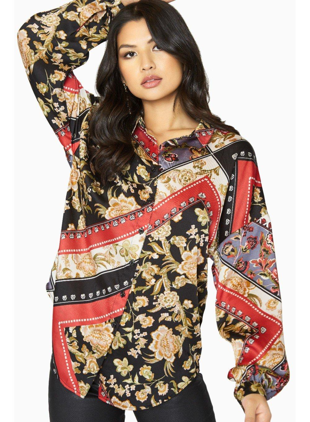Girls On Film Multi Coloured Scarf Print Shirt