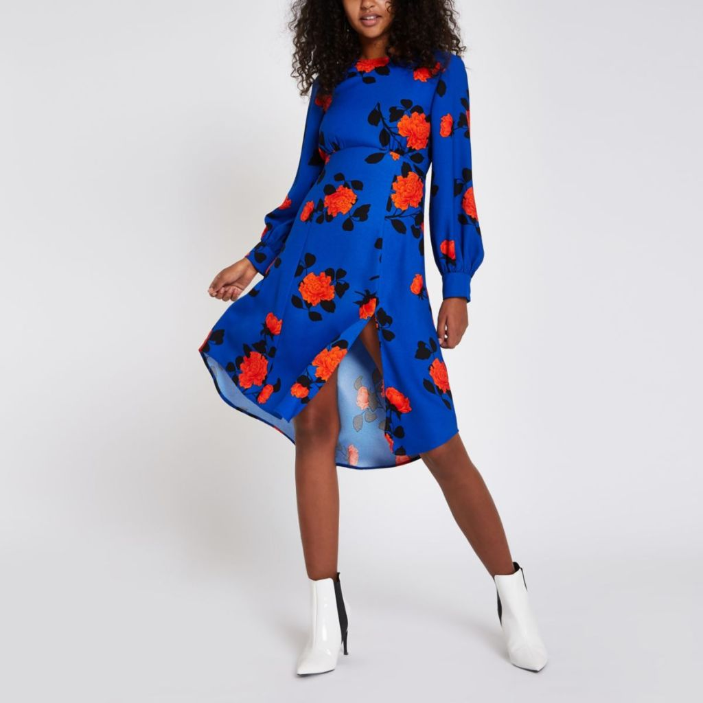 River Island blue floral print tie back midi dress
