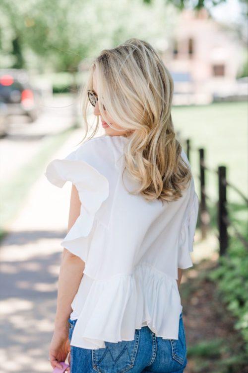 white flowy top