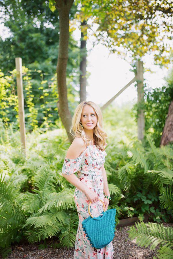 Asymmetric garden party dress