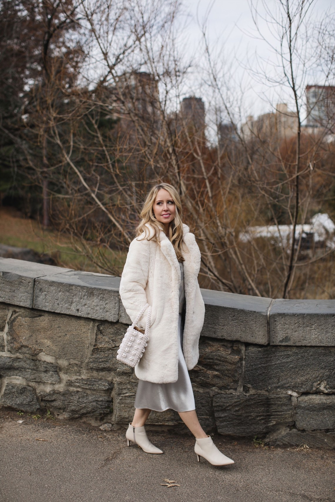 white fur coat outfit central park