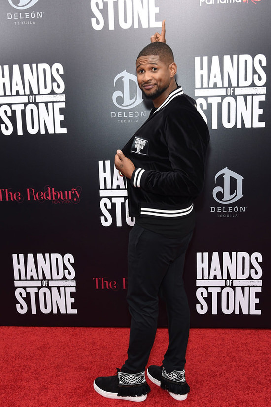 "USHER WEARS FOOTWEAR BY PORTS 1961 TO NEW YORK MOVIE PREMIERE OF ""HANDS OF STONE"""
