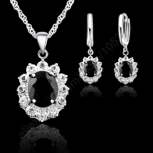 JEXXI Black Oval CZ Jewelry Sets 925 Sterling Silver Pendant Necklace+Hoop Earring Princess Wedding Engagement For Women - thefashionique
