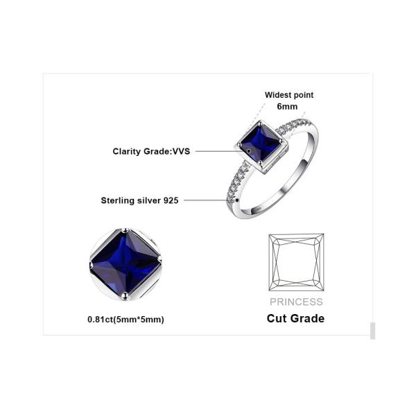 JewelryPalace Square 0.9ct Created Blue Sapphire Solitaire Ring 925 Sterling Silver Ring For Women New Vintage Jewelry - thefashionique