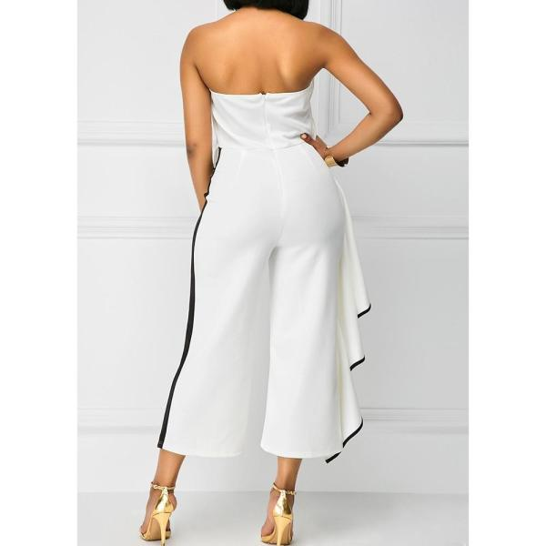 Kenancy Women Jumpsuits Casual Female Strapless Lotus Leaf Overalls Long Trousers Fashion Loose Rompers 2019 Summer Playsuits - thefashionique