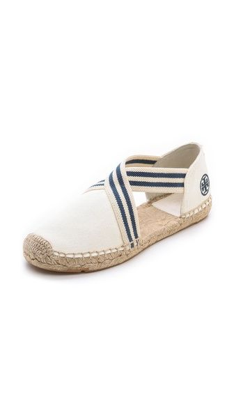 Catalina Espadrilles - Elastic crisscross straps lend a secure fit to casual canvas Tory Burch espadrilles