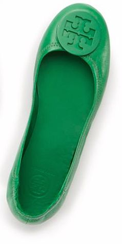 Green Tory Burch travel ballet flat