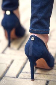 Suede Ivy Pump - dark denim with the Tory Burch Ivy Pump in navy