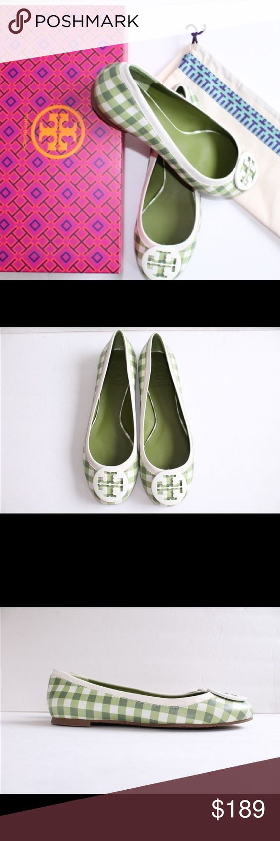 Tory Burch Green Plaid Flats