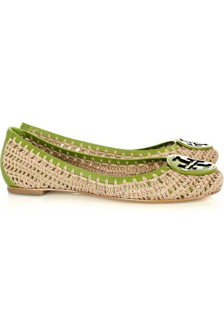 Tory Burch Rory leather and crochet flat