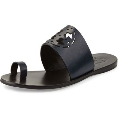 Tory Burch Zoey Leather Logo Toe-Ring Sandal