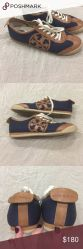 Tory Burch navy and taupe tennis shoes