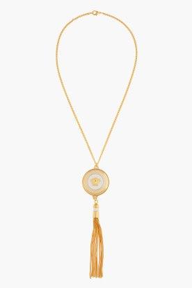 VERSACE Gold logo medallion and tassel Necklace Metal - $575.00