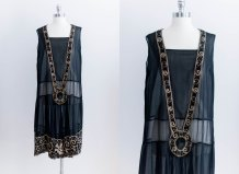 1920s Black and Gold Embroidered Flapper Dress - $368.35