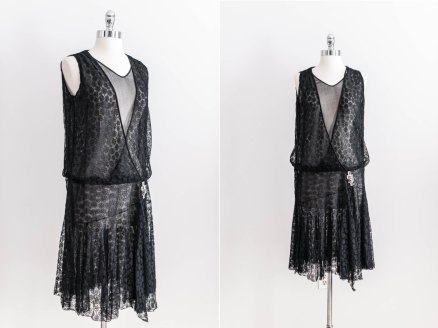 Vintage 1920s Authentic Silk Chantilly Lace Chiffon Flapper Dress - $359.09