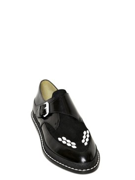 POLLINI BY NICHOLAS KIRKWOOD BRUSHED CALFSKIN & SUEDE MONK SHOES