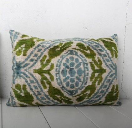 Blue Green Velvet Ikat Cushion