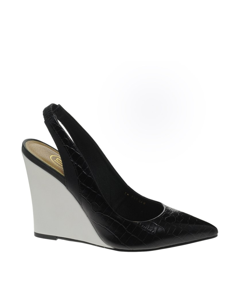 River Island Orlando Mono Leather Wedge Heeled Shoes