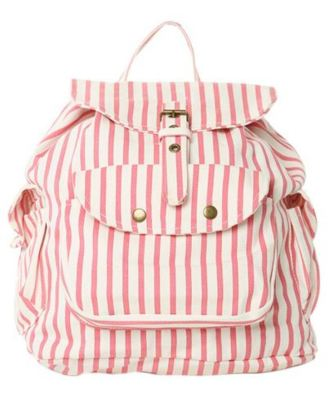 Pink Striped Backpack