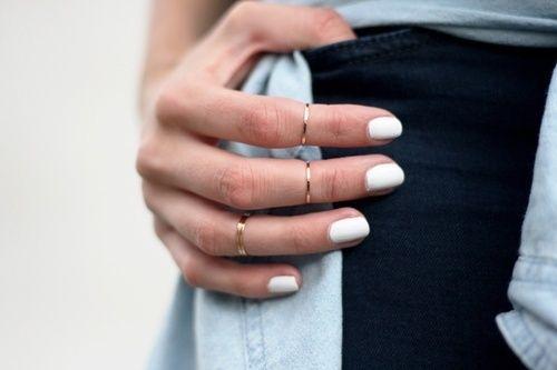 white nail polish with minimal rings