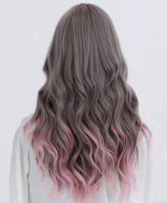 grey hair with pink ombre tip