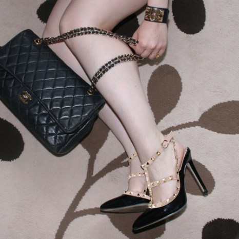 Valentino Rockstud, Hermes Collier de Chien cuff and Chanel 2.55 bag