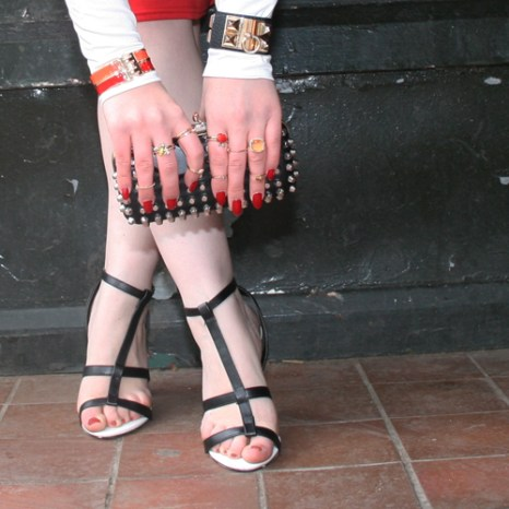 Zara clutch, New Look shoes and Hermes bracelets
