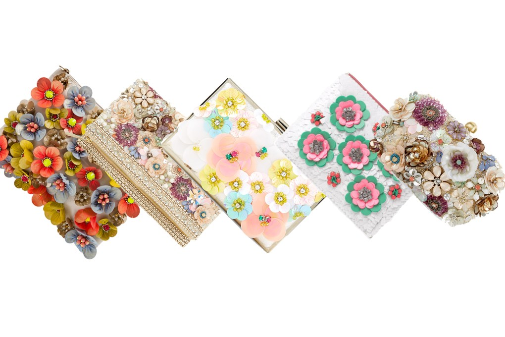 Floral applique 3D clutches
