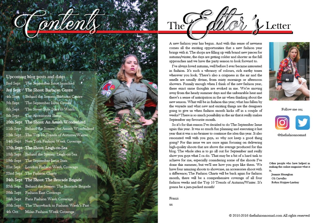Contents page and editor's letter