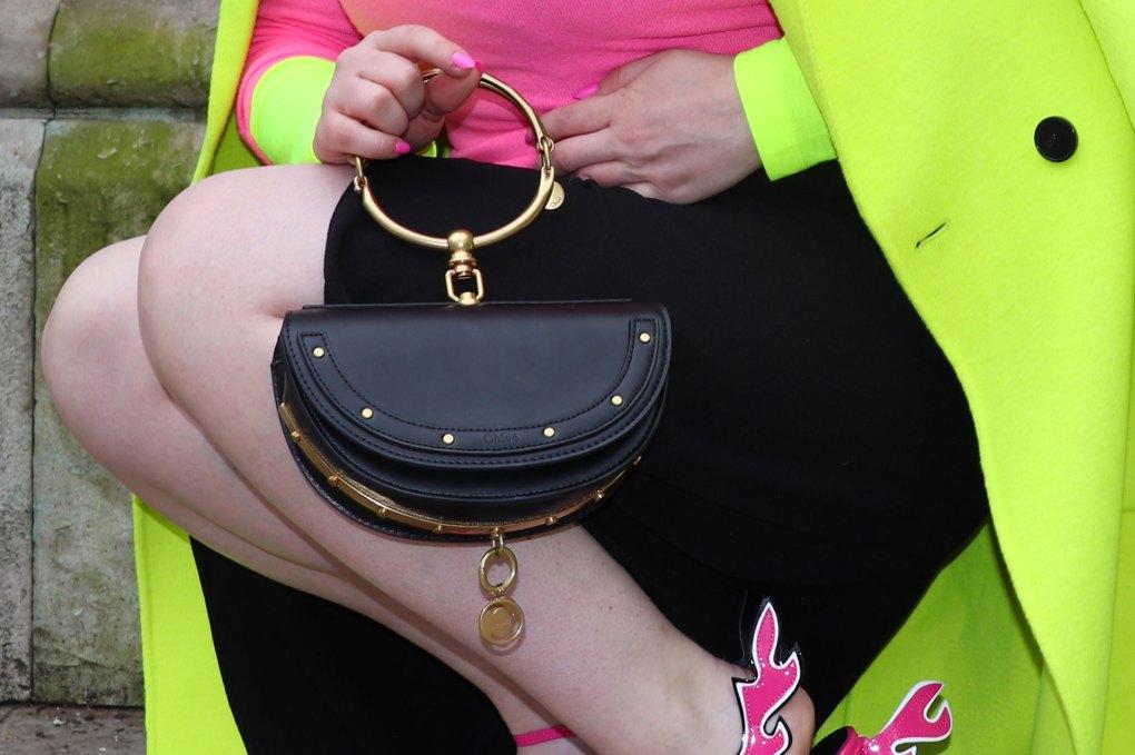 Neon outfit woman london fashion week zara coat jumper Chloe nile Minaudière bag