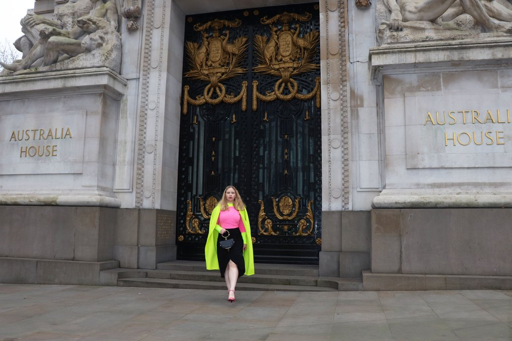 Neon outfit woman london fashion week zara coat jumper Chloe nile bag prada flame sandals