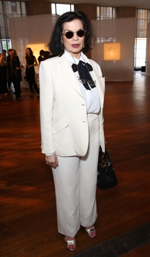 Bianca Jagger attends Giorgio Armani Parfums Si Gathering Day in London, England. (Photo by David M. Benett/Dave Benett/Getty Images for GIORGIO ARMANI) *** Local Caption *** Bianca Jagger