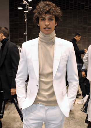 Model backstage at the Miguel Vieira Fall 2017 menswear show © The Fashion Plate 2017 (photo by Lola Montanaro)