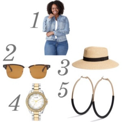 spring fashion look jacket sunglasses hat watch earrings