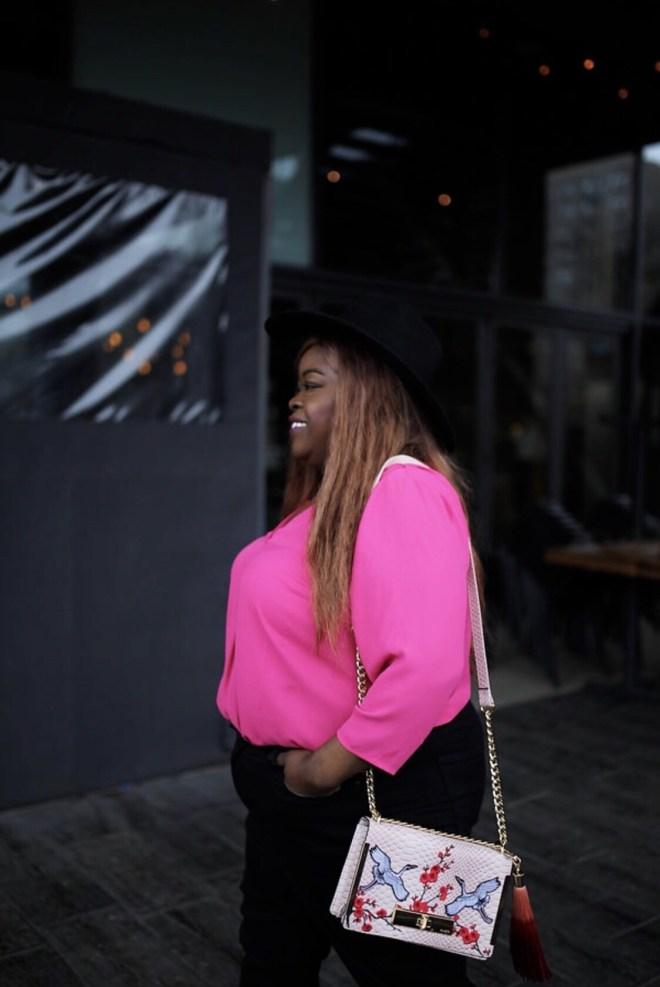 TALBOTS, PETITE PLUS, plus petite clothing, pink top, black jeans, plus size fashion, petite fashion, plus size blogger