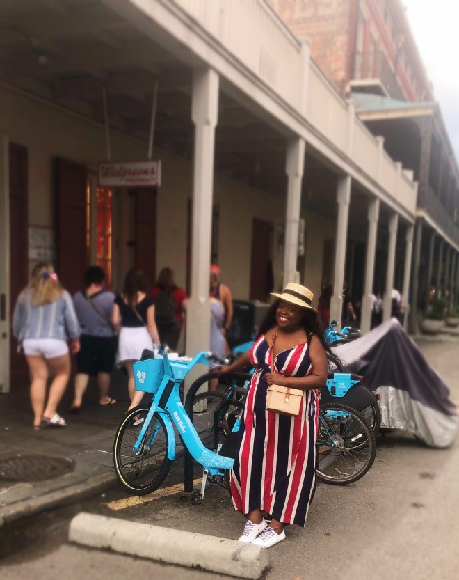 Blue Cross Blue Shield bike, drinks in New Orleans, fried chicken, Willie's chicken shack, coca-cola, New Orleans' street car, brittphotosmith.com, Red, white and blue dress, French Quarters, New Orleans