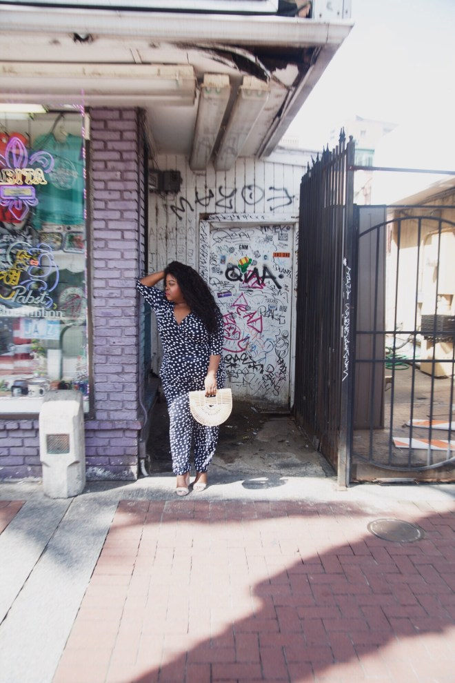 Plus size polka dot wrap jumpsuit, New Orleans, plus size blogger