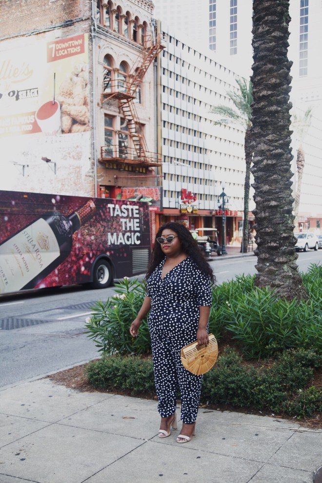 Plus size polka dot wrap jumpsuit, New Orleans, plus size blogger, plus size street fashion