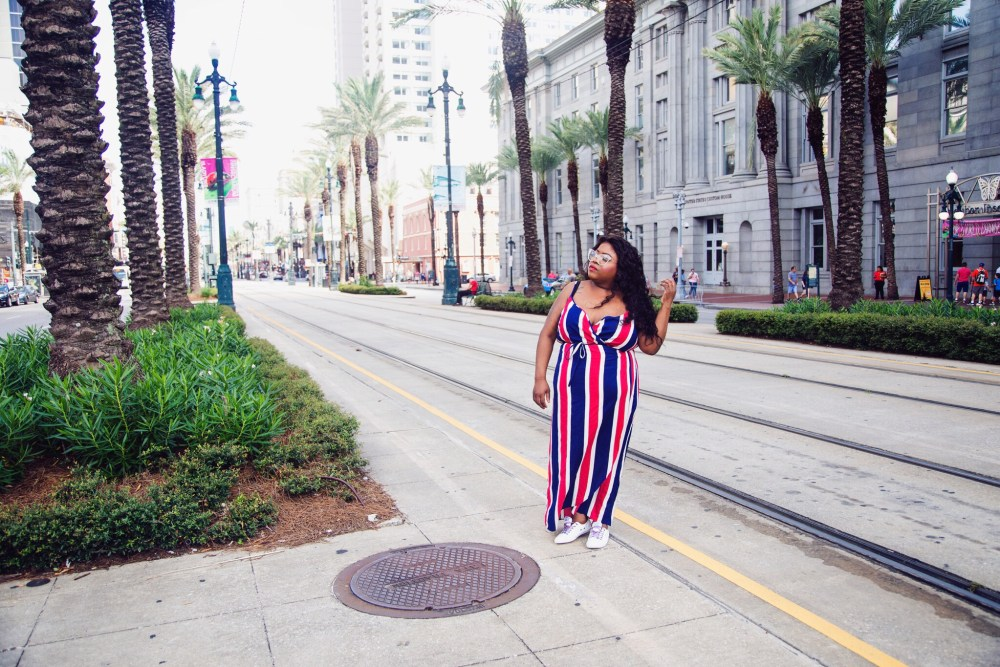 plus size blogger, plus size fashion blogger, Essence Fest, Essence Festival, ASOS dress, Superdry sneaker, New Orleans fire fighter, Blue Cross Blue Shield bike, drinks in New Orleans, fried chicken, Willie's chicken shack, coca-cola, New Orleans' street car, brittphotosmith.com, Red, white and blue dress, French Quarters, New Orleans